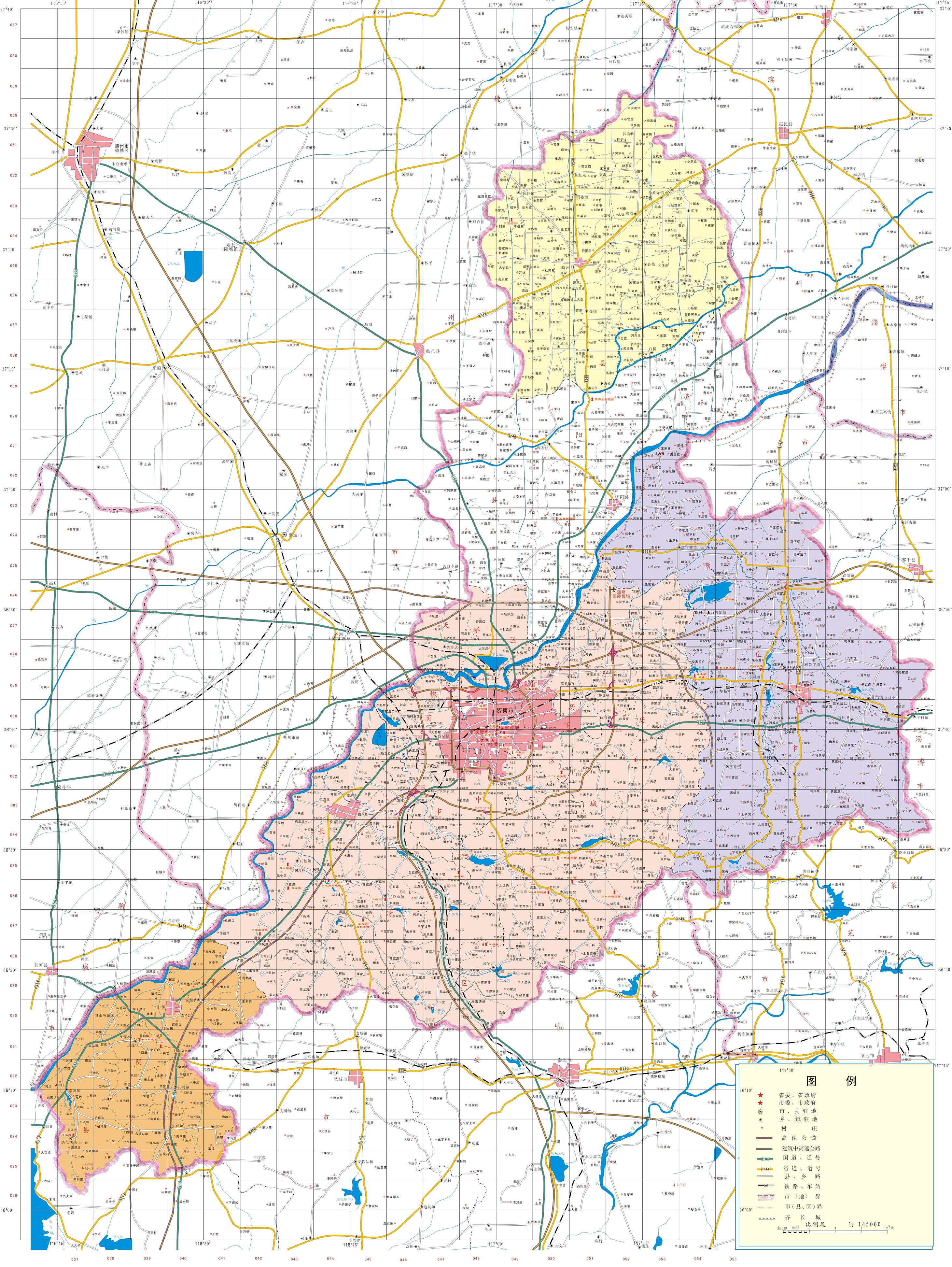 济南市行政区图